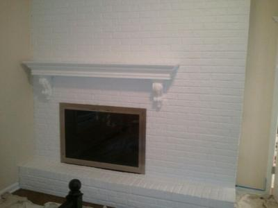 Painted Brick Fireplace and Mantle